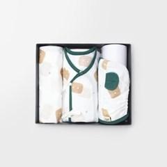 [메르베] 건빵속베어 출산선물세트(저고리+속싸개+모자)
