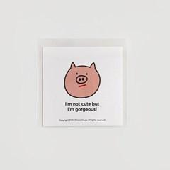 Piggy / Curly lion postcard