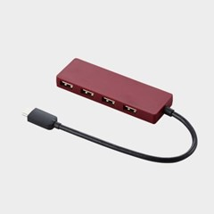 C타입 USB 2.0 허브 4포트 0.15m 레드_(1049863)