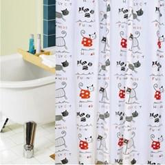 홈카터 고양이 샤워커튼 / 180x180cm 욕실커튼
