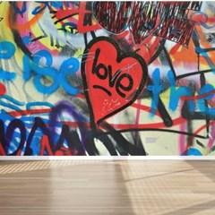그래피티 사랑하트 페인트벽 뮤럴벽지 아트벽지