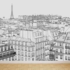 테마벽지 하늘에서본 파리경치 패브릭 아트벽지