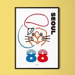 88호돌이 M 유니크 인테리어 디자인 포스터 올림픽 레트로