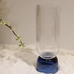 빗살 블루 유리화병 투명유리꽃병 캔들트레이 인테리어촛대