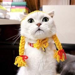 고양이니트가발 모자 긴머리가발 강아지가발