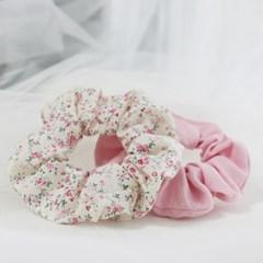 베이비 핑크 빈티지 꽃무늬 헤어슈슈 곱창머리끈