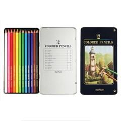 (문화) 12색 고급 색연필(틴)/미술학원판촉용