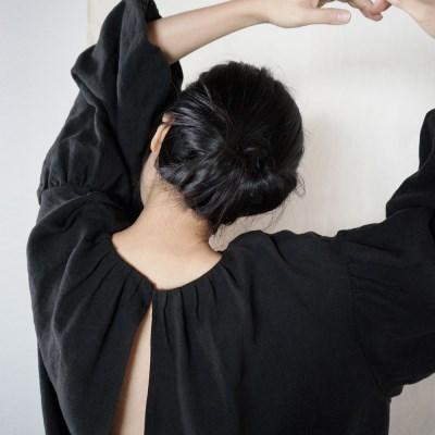 블랙 벌룬슬리브 드레스 : Black balloon sleeve dress