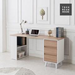 트리빔하우스 우노 라운드 1600 수납 책상세트 - 책장형