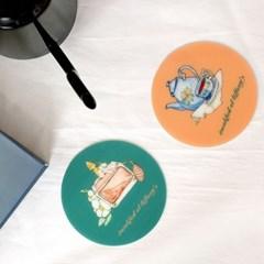 방수 컵받침 TPU 티코스터 2P 세트  티파니