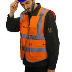360도 야광 반사 안전조끼(XL) / 오렌지 형광작업조끼