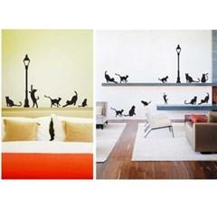 가로등과 고양이 포인트 그래픽스티커 거실 룸데코
