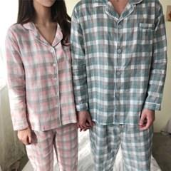 순면 더블 체크 커플 잠옷 파자마