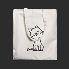 고양이 캐릭터 에코백(화이트) /수납보조 지퍼에코백