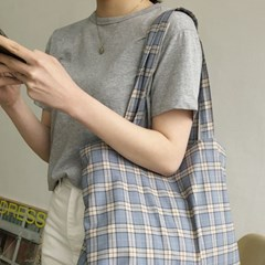 slowstitch big bag ( blue check )