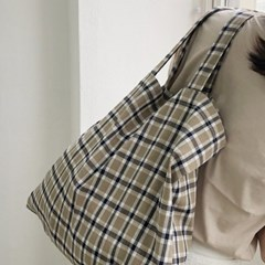slowstitch big bag ( brown check )