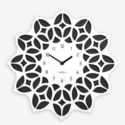 화려한 문양이 돋보이는 모로칸 감성의 보헤미안 벽시계 화이트-블랙