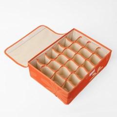 리빙박스 오렌지 속옷정리함(24칸)/양말정리 수납함