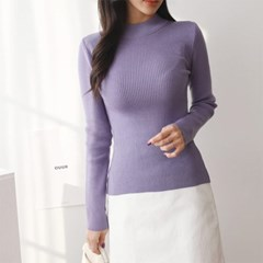 여자 봄 슬림핏 반목 모크넥 라운드 니트 긴팔 티셔츠