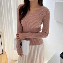 여자 봄 슬림핏 브이넥 골지 니트 티셔츠