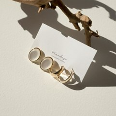 로븐 포인트원석 링 2종 세트 귀걸이
