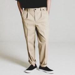 one tuck tapered cotton slacks_LIGHT BG