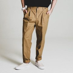 one tuck tapered cotton slacks_MOCHA BG