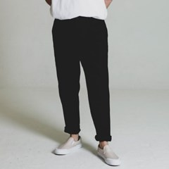 one tuck tapered cotton slacks_BLACK