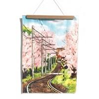 [패브릭 포스터/캔버스 액자] - 벚꽃 기차길