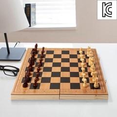 3in1 폴딩 원목 체스판/휴대용 체스 체커 보드게임