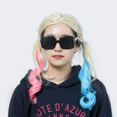 할리퀸 금발 파티가발 /양갈래가발 여장가발 머리가발