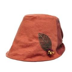 [플릭앤플록]ICU07.배색 린넨 나뭇잎 여성 벙거지 모자