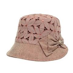 [플릭앤플록]ICU03.아일렛 리본장식 여성 벙거지 모자