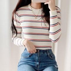 패셔니스타 스트라이프 골지 티셔츠(knit538)_(1802692)