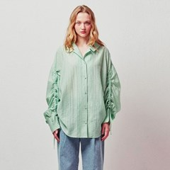 CHECK RUCHING SLEEEVES SHIRT_MINT (EETZ1BLR02W)