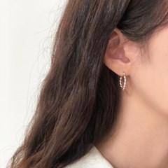 [92.5 silver] Twist ring earring