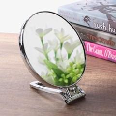 뷰티숍 접이식 원형 탁상거울/3배확대 양면 책상거울