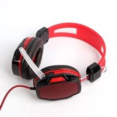 플리스 게이밍 헤드셋(레드)/게임용 마이크 헤드폰