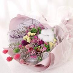 [데코봉봉]드라이플라워 꽃다발 (핑크)