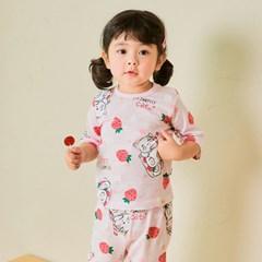 [따솜] 딸기고양이 오가닉 7부 자가드 아동 실내복 상하_(1588579)