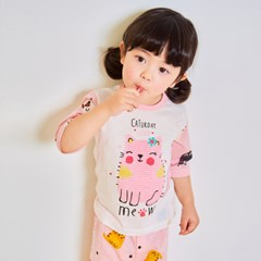 [따솜] 핑크캣 오가닉 7부 자가드 유아동 실내복 상하의_(1588836)