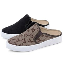 kami et muse Pattern fabric backless sneakers_KM19w356