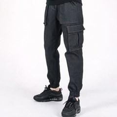 (UNISEX)M Denim Cargo-Jogger Pants(BLACK)_(1470239)