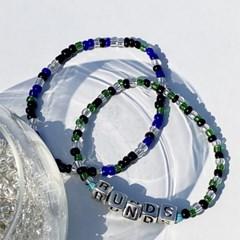 [SET] logo pendant beads bracelet