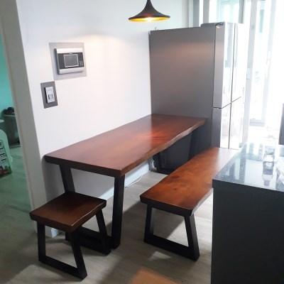 [뉴송 우드슬랩]스타벅스 테이블 통원목 일체형 철재 프레임 1800