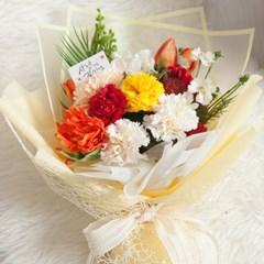 오렌지 카네이션 꽃다발 58cm P 조화 어버이날 스승의날 선물 감사