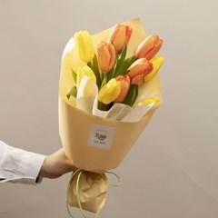 꽃선물 자몽&옐로우 튤립 꽃다발 (생화, 전국택배)
