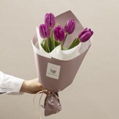 꽃선물 보라튤립 꽃다발 M (생화, 전국택배)