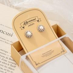 체인 큐빅 라운드 귀걸이  (2color)