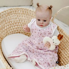 아기수면조끼 플라워토끼핑크 아기 조끼 신생아 수면조끼